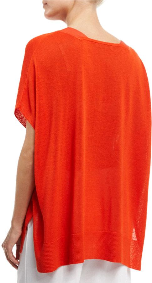 Joan Vass V-Neck Boxy Linen-Blend Sweater