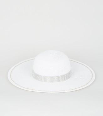 New Look Straw Effect Diamante Floppy Hat