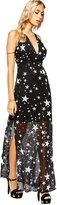 Maxwell Women's Boho Five-Pointed Star Chiffon Sleeveless Halter Split Beach Long Maxi Dress (XL, )