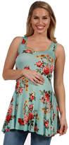 24/7 Comfort Apparel 24Seven Comfort Apparel Ashlee Green Floral Maternity Tunic Top