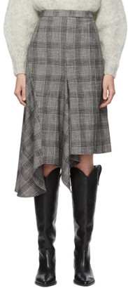 Isabel Marant Black and White Diesty Checked Suit Skirt