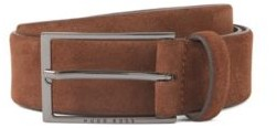 HUGO BOSS Soft suede leather belt with polished gunmetal pin buckle
