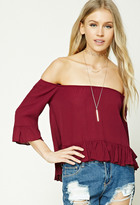 Forever 21 FOREVER 21+ Off-the-Shoulder Peasant Top