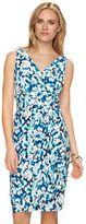 Chaps Petite Drape-Front Ruched Dress
