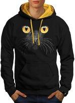 Cat Kitty Kitten Eye Cute Galaxy Men NEW L Contrast Hoodie | Wellcoda