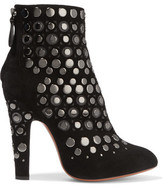 Alaia Embellished Laser-Cut Suede Ankle Boots