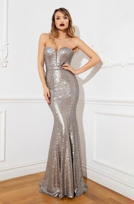 Cristallini Strapless Sequin Gown
