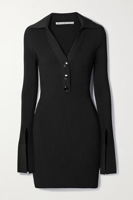 Alexander Wang Ribbed Stretch-knit Mini Dress - Black