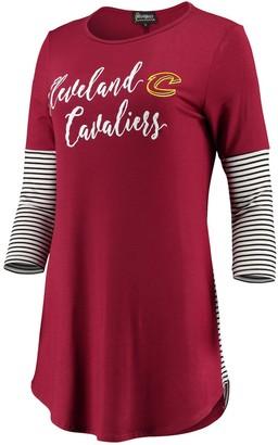 Women's Wine Cleveland Cavaliers Striking in Stripes 3/4 Sleeve Tunic T-Shirt