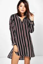 boohoo Stacey Stripe Long Sleeve Shirt Dress black