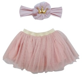Popatu Baby Girl Tutu and Headband Set with Delicate Little Gold Dots and Headband