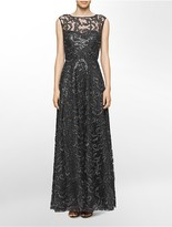 Calvin Klein Sequined Flared Gown