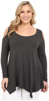 Christin Michaels Plus Size Rylan Ribbed Cold Shoulder Top