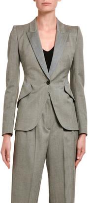 Alexander McQueen Textured One-Button Blazer Jacket