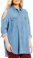 Peter Nygard Plus Cold Shoulder Button Front Blouse
