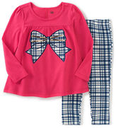 Kids Headquarters Baby Girls Two-Piece Sequined Bow Tunic and Plaid Leggings Set