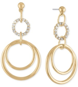 Rachel Roy Gold-Tone Pave Multi-Circle Drop Earrings