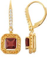 FINE JEWELRY Genuine Garnet & Citrine Diamond Accent 14K Gold Over Silver Leverback Earrings