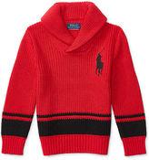 Ralph Lauren Striped Cotton Shawl Sweater