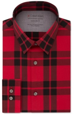 Calvin Klein Men's Extra-Slim Fit Performance Stretch Temperature-Regulating Check Dress Shirt