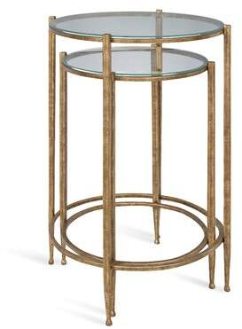 Bloomsbury Market Hamill Metal and Glass 2 Piece Nesting Tables Bloomsbury Market