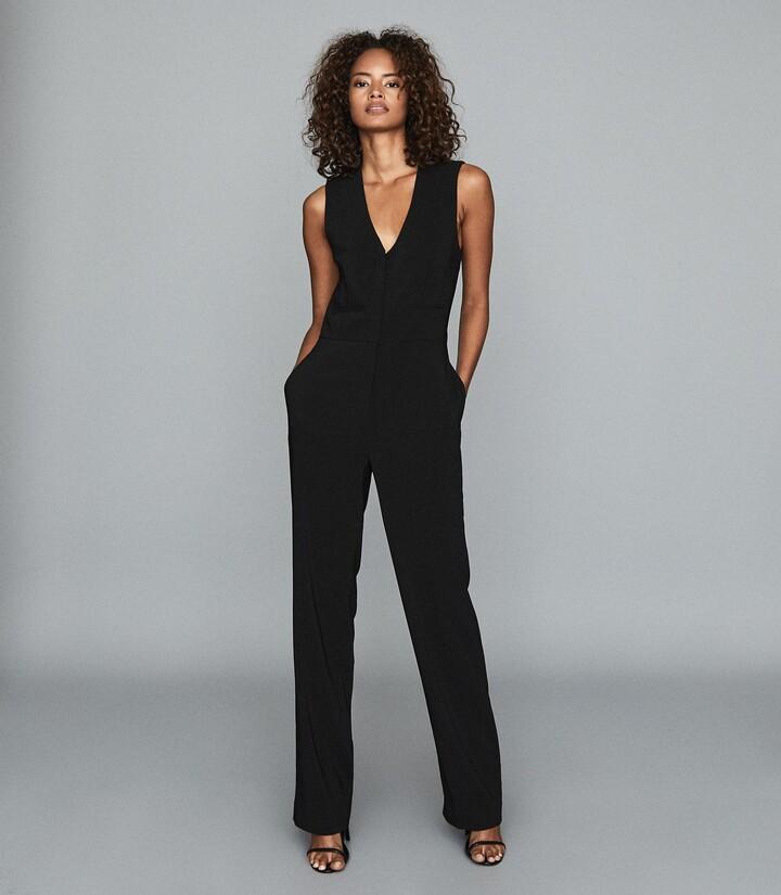 Reiss Valerie - Tailored Jumpsuit in Black