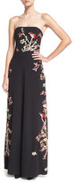 Alice + Olivia Raven Strapless Embroidered Wide-Leg Jumpsuit, Black/Multicolor
