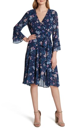 Tahari Floral Long Sleeve Faux Wrap Chiffon Dress