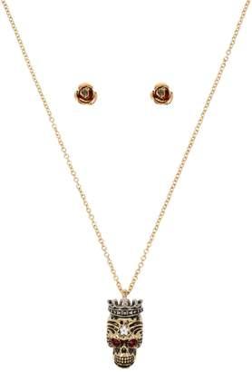 Betsey Johnson Rose Goldtone Crystal Stud Earrings Skull Pendant Necklace Set