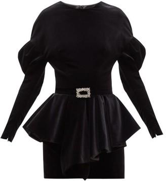 Alexandre Vauthier Puff-sleeve Peplum-waist Velvet Mini Dress - Womens - Black