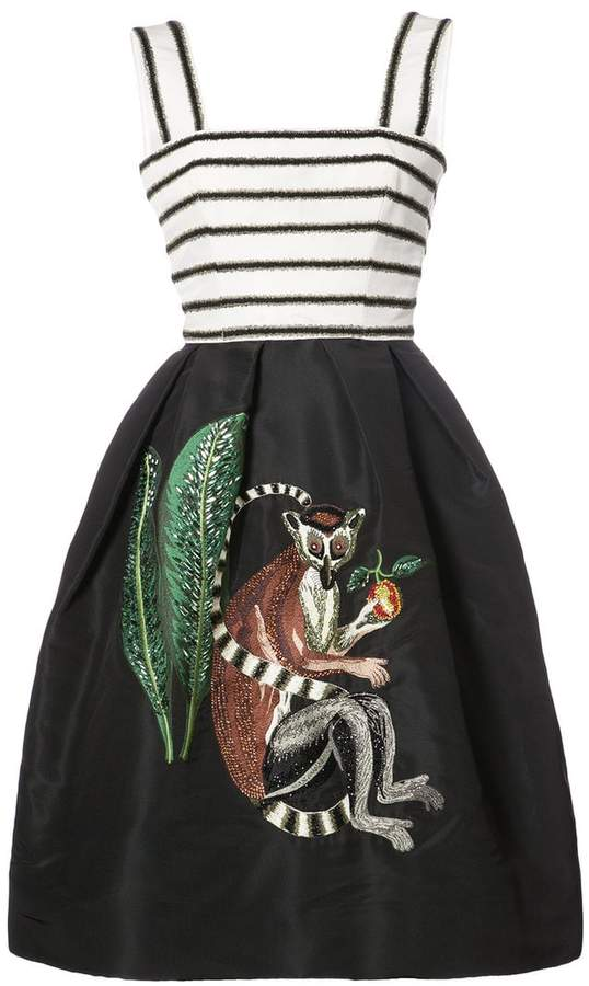 Oscar de la Renta sleeveless monkey embroidered midi dress
