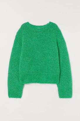 H&M Knit Wool-blend Sweater - Green