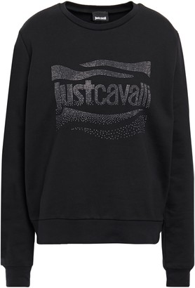 Just Cavalli Crystal-embellished French Cotton-terry Sweatshirt