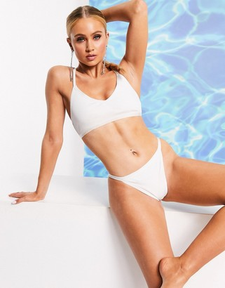 ASOS DESIGN SWIM GLAM shiny bandage tanga bikini bottom in white