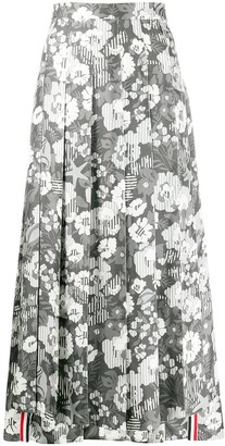 Thom Browne Floral-Print Pleated Skirt