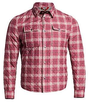 Isaia Men's Quilted Plaid Shirt Jacket