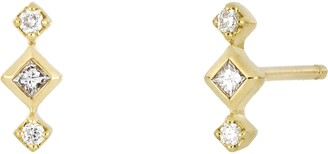 Bony Levy Getty Three-Stone Diamond Stud Earrings