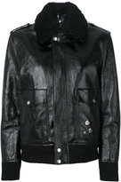 Saint Laurent shearling trim flight jacket - women - Cotton/Calf Leather/Sheep Skin/Shearling/Wool - 36
