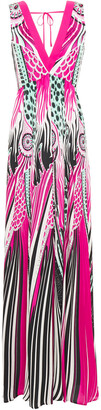 Just Cavalli Gathered Printed Satin Maxi Dress