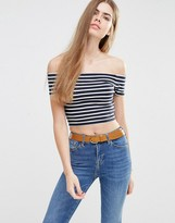 Jack Wills Striped Bardot Cropped Top