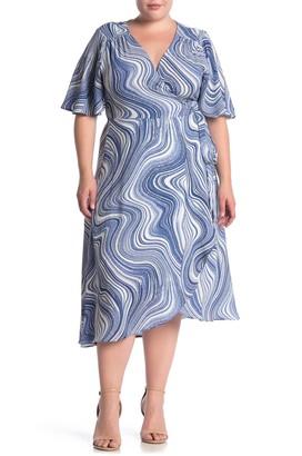 Bobeau Printed Flutter Sleeve Wrap Dress (Plus Size)