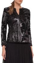 Akris Harmony Sequined Zip-Front Jacket, Black