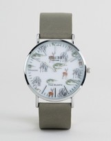 Reclaimed Vintage Safari Leather Watch In Grey