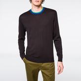 Paul Smith Men's Black Cotton-Blend Contrast-Collar Sweater