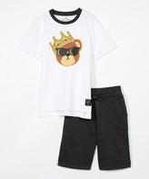 Blac Label Boys' Active Shorts BRIGHT - Bright White Crown Bear Tee & Black Shorts - Toddler & Boys
