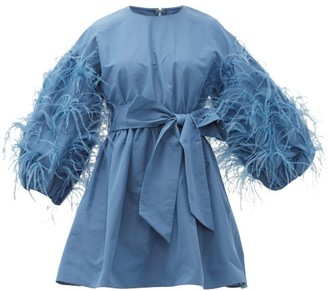 Valentino Feather-trim Cotton-blend Faille Mini Dress - Womens - Blue