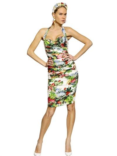 Dolce & Gabbana Gathered Printed Silk Charmeuse Dress