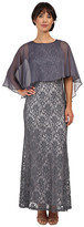 Sangria Sleeveless Lace Gown with Sheer Cape Overlay