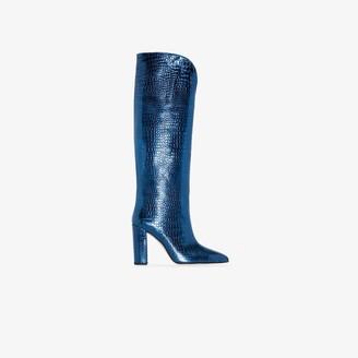 Paris Texas Blue 100 mock croc leather boots
