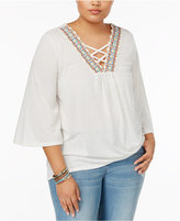 Eyeshadow Trendy Plus Size Lace-Up Top